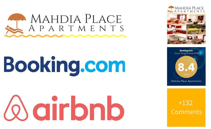 Booking on our website, Airbnb or Booking modern apartment rental in Mahdia, Tunisia